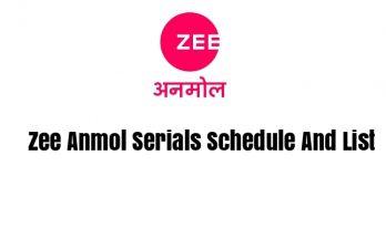 Zee Anmol Serials Schedule And List